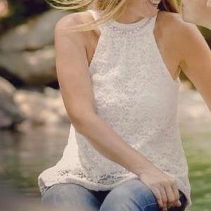 LAST CHANGE Rue 21 white Lace bohemian top tunic M